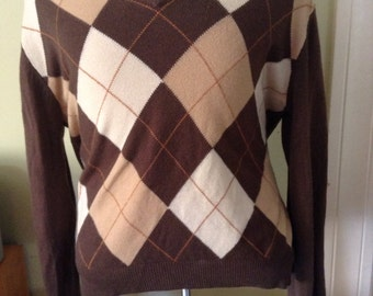 SALE Vintage Argyle Sweater Medium Movie Wardrobe