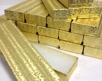 Gold Foil Boxes - 20-count Cotton Filled Bracelet Boxes