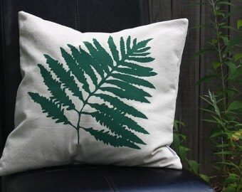 Fern Green Silk Screened Pillow Cover