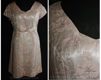 Size 14 Cocktail Dress - Elegant 1960s Pink & Metallic Silver Satin Brocade - Large Short Sleeve 60s Dress - Never Worn - Bust 43 - 34861-1