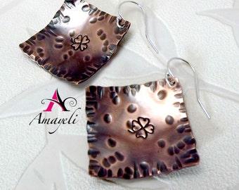 copper earrings. Clover earrings. Hand stamped earrings. Square earrings. Rustic earrings.