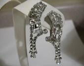 Gorgeous Vintage Rhinestone Ear Clips with Drops