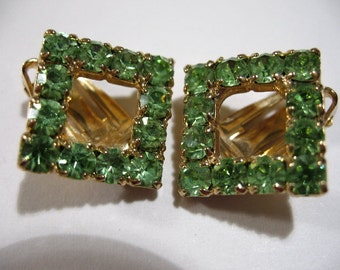 Vintage Square Ear Clips with Green Rhinestones