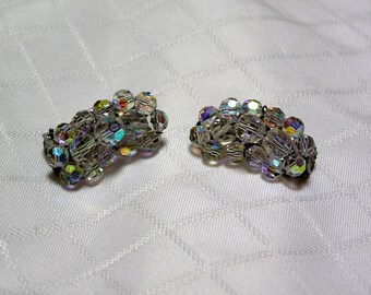 Vintage ear climber aurora borealis crystal clip earrings