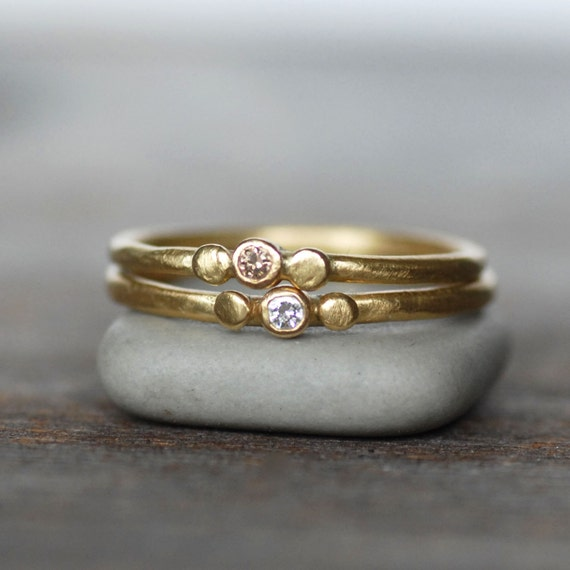 Tiny diamond and gold wedding ring 18k gold skipping stone for Tiny wedding ring