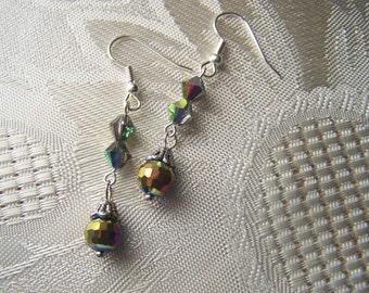 Earrings Irridescent Glass Beads