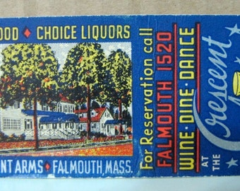 1930s Old Cape Cod Cresent Arms Falmouth MA Matchcover Art Federal Match