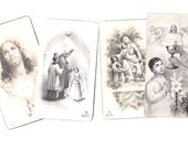 4 Vintage Religious Black and White Italian Saints Card - HOLY CARDS with a Prayer - Set X-12