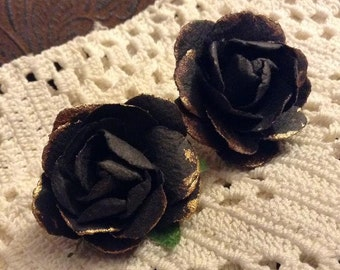 Dark Gray and Gold Paper Flower Post Earrings
