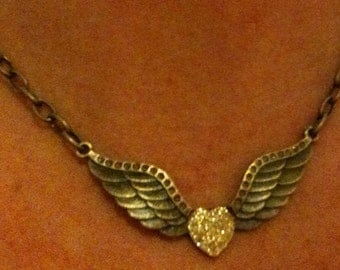 Antique Brass Sparkling Heart with Wings Necklace
