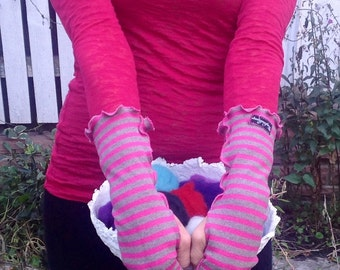 Fingerless Gloves Pink Stripe Handmade Upcycled Women's Arm Warmers