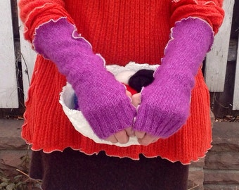 Fingerless Gloves Upcycled Sweater Fuchsia