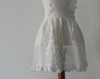 Vintage Full Apron Hand Made Hand Crocheted White Cotton 40s 50s Sale
