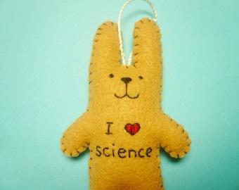 "Felt ornament ""I love science"" rabbit, geeky ornament, nerdy gift, math ornament, science ornament, Christmas ornament, funny ornaments"
