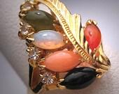Vintage Opal Ring Carnelian Jade Coral Estate Retro 50s