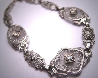 Antique Diamond Bracelet Vintage Art Deco Rock Crystal 1920