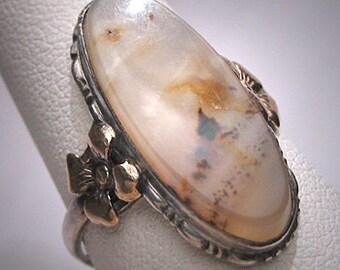 Antique Quartz Agate Ring Victorian Art Deco Gold Flor