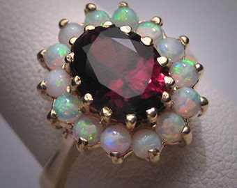 Vintage Australian Opal Garnet Ring Victorian Wedding