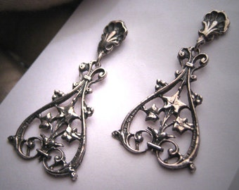 Antique Victorian Silver Earrings Sterling Floral