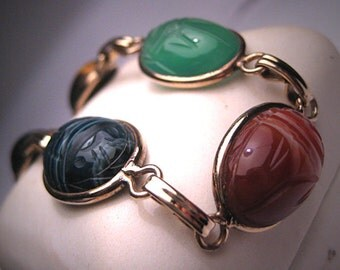 Vintage Scarab Bracelet Jade Carnelian Gold Antique Art Deco Egyptian Revival