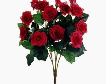 15 Inch RED Artificial Rose Bush - Artificial Flowers, Silk Flowers, Wedding Flowers, Flower Crown, Hair Accessories, Tutu, Flower Letters