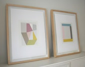 Screenprints, geometric originals, summery colours. Handpulled on Fabriano paper, exhibited at the RA. modern wall art, Emma Lawrenson