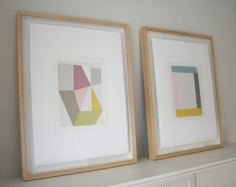 Screenprints, geometric originals, summery colours. Handpulled on Fabriano paper, exhibited at the RA. modern wall art, Emma Lawrenson