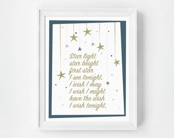 Art Print, Nursery Print, Star Light Star Bright Nursery Art, Star Print, Baby Art, Star Poster, Nursery Star Poster, Girl Friday Paper Arts