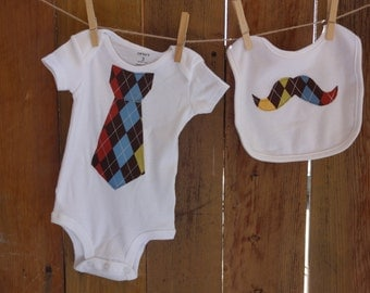 3 Months Bodysuit with Argyle Tie and Bib Set