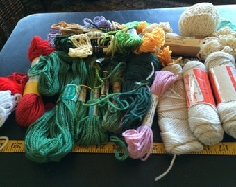 Huge Lot of Many Skeins of Needle Craft Yarn Brown White Green Yellow Red