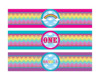 DIY Printable Chevron Rainbow Water Bottle Labels