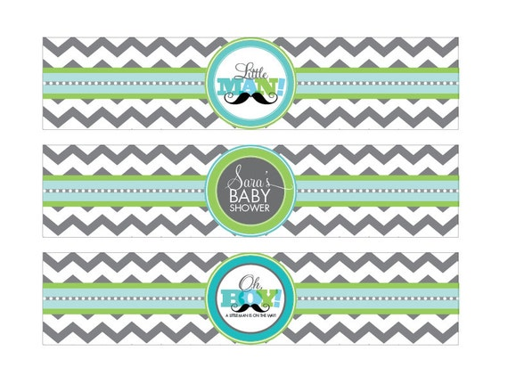 DIY Printable Little Man Water Bottle Labels by loralangdesigns | Catch My Party