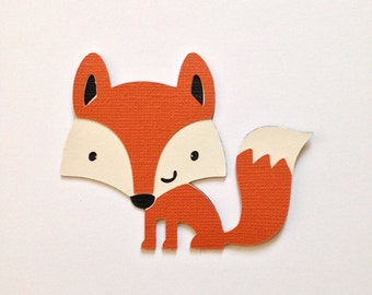 Cute Fox die cut at 2.5 inches - perfect for banners - birthday theme - nursery theme- cupcake toppers - wall decor - woodland creature