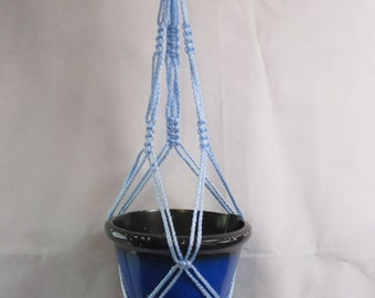 Macrame Plant Hanger Vintage Style 25 inch 4mm 3 Arm Sky Blue (Choose Color)