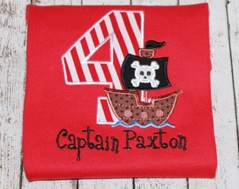 Boy's Pirate Birthday Shirt , Pirate Ship, Girl's Pirate Birthday, Available in ages 1-9