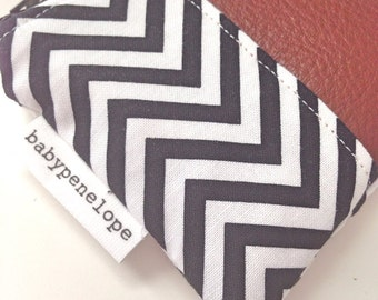 OOAK Black and white Chevron and Genuine Brown Leather Coin Pouch - ready to ship