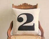 "number pillow cover, typography font, industrial rustic black, appliqued, 16"" x 16"", urban farmhouse, cottage home decor"