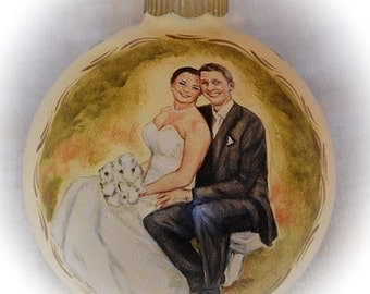 Wedding Portrait Ornament, Custom Christmas Ornament- Full Figure Portrait Painting on 4 inch Ornament