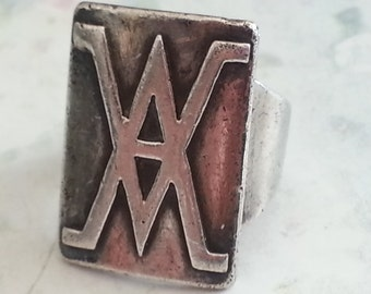 Vintage Hand Made Sterling Silver Ring Size 5 1970s Rectangular