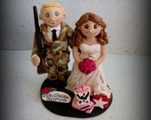 Wedding Cake Topper, Custom Bride with Shopping Bags and Groom with Gun, Personalized Topper, Polymer Clay Wedding or Anniversary Keepsake