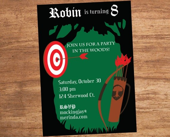 Bow and Arrow Robin Hood Forest Party Invitation