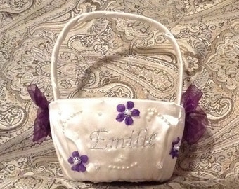 Flower girl basket ivory or white with name or initials embroided with your choice colors