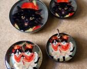 DESTASH! Four Cute Vintage CAT Art Pendants