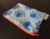 Blue Octopus  Zippered Reusable Snack Bag by GoSewEco