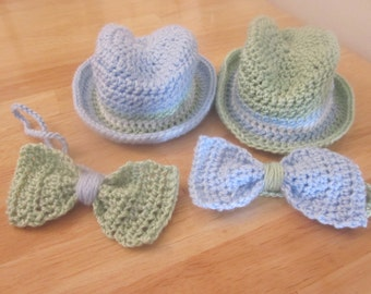 Twin Newborn Fedora and Bow Tie Set, Hat and bow tie, baby hats, twin boy hats