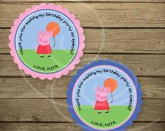 Customized Peppa Thank You Stickers
