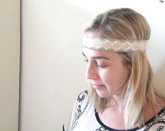 Bridal  headband,  Lace Headband,  Boho Wedding hairpiece,  Wedding Hair Accessory, Wedding headpiece, Bridesmaid  White headband.