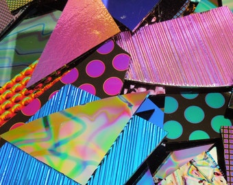 1/2 Pound Dichroic Glass Scrap - Dichroic Fused Glass - Dichroic Jewelry - Jewelry Making - Black Or Clear 96 Coe x