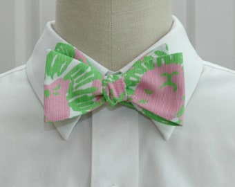 Lilly Bow Tie in pink & green cabana Sunnyside (self-tie)