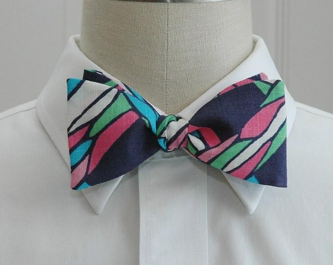 Men's Bow Tie, Twist Light, navy/pink/green Lilly print , wedding bow tie, groom bow tie, groomsmen gift, prom bow tie, geometric bow tie,